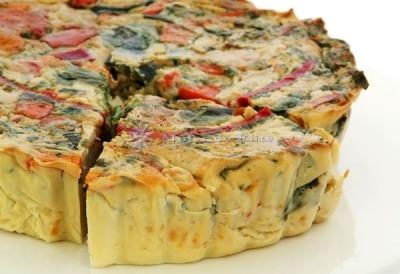 Pastel de verduras con queso feta