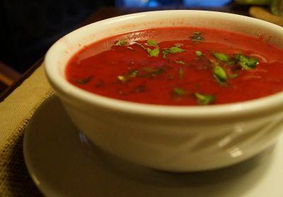 Sopa de sandia y tomate