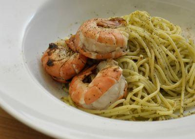 Spaguettis con gambas