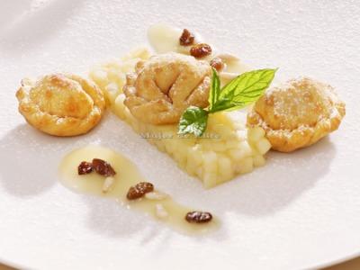Raviolis de strudel con tártara de manzanas