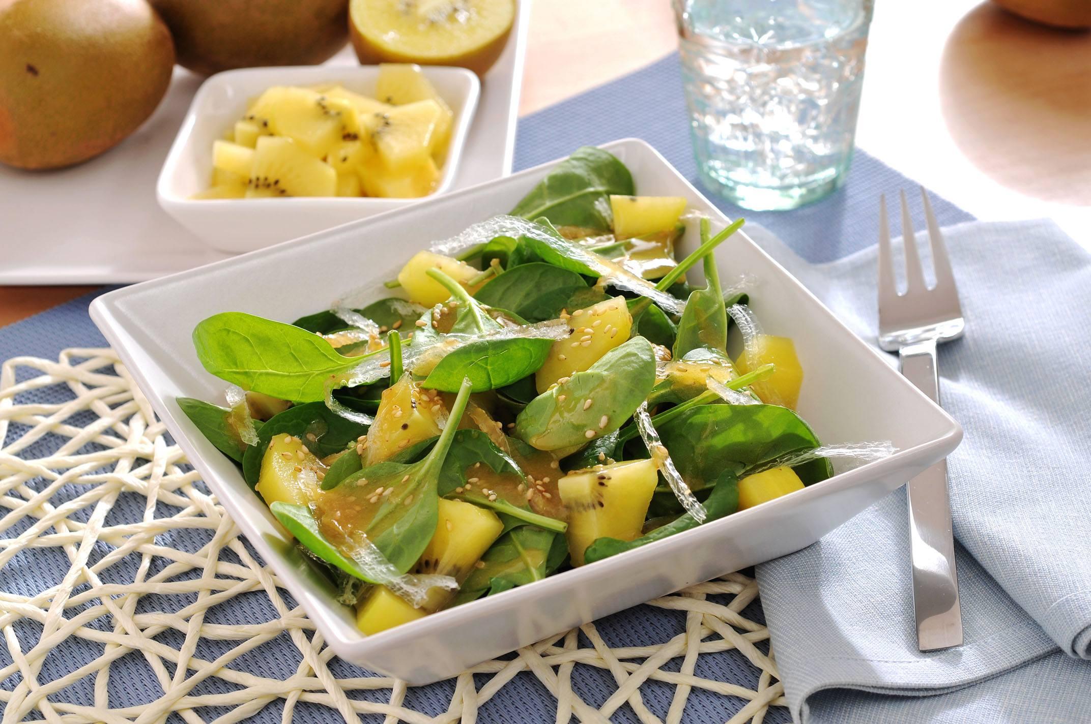 Ensalada De Espinacas Agar Agar Y Kiwi