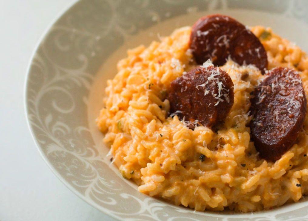 Risotto De Chorizo Y Parmesano